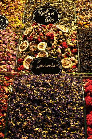 Sale of fruit teas. Different types of tea are sold in the Istanbul market. July 09, 2021, Istanbul, Turkey.