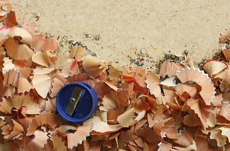 Shavings with sharpener Stock Photo - 13442638