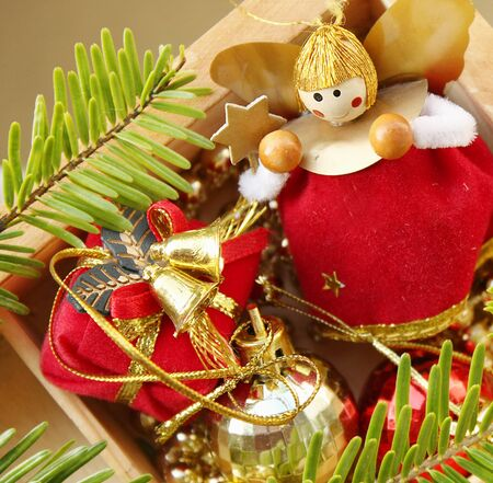 Background of Christmas decorations photo