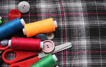 Color threads with buttons Stock Photo