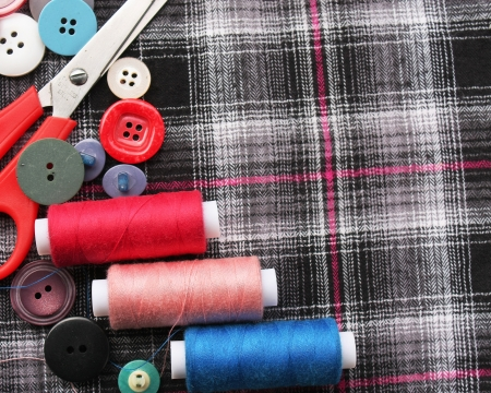 Color threads with buttons photo
