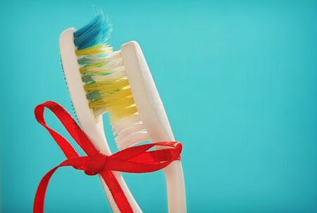 Love concept of toothbrushes photo