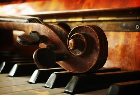 piano closeup: Beautiful violin Stock Photo