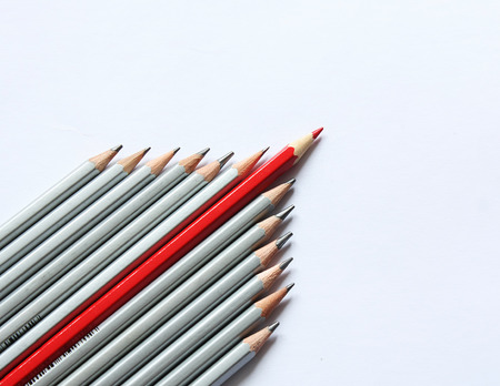 Pencils concept with red pencil