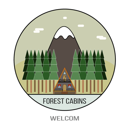 Beautiful vector illustration of a village house in the woods. Holiday weekend outside the city, in the forest camp. Hiking and camping. Landscape view of the mountains in flat style. Eco holidays.