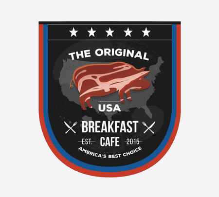 eatery: Vector invitational sign board for cafe in Presidents Day style. Fast food label with creative illustration with pork form. Street food concept for menu restaurant, cafe and eatery.