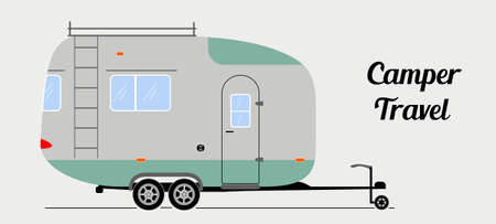 rv: Modern vector camper trailer in flat style. Van illustration for travel leisure and adventure. Illustration