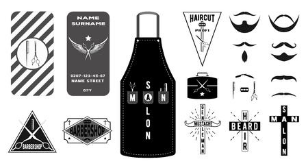 delantal: Colección de emblemas barbería vintage, etiquetas, y el negocio de tarjetas en estilo plano. Ilustración del vector: bigote, barba, delantal peluquería, corte de pelo con toolsaccessories maletín. Vectores