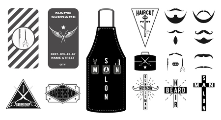apron: Collection of vintage barber shop emblems, labels, and business card in flat style. Vector illustration: mustache, beard, hairdresser apron, haircut toolsaccessories with briefcase. Illustration