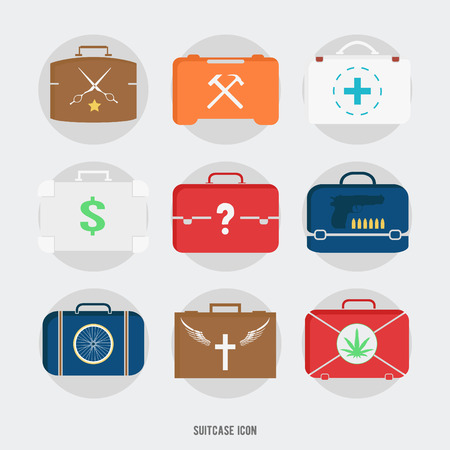 specialty: Flat briefcases and suitcases icons on white background. Vector specialty illustration: doctor, barber, murderer, drug dealer, builder, worker, preacher, jobless.