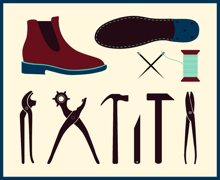 Vector shoe repair illustration. Set of shoemaker tools. Chelsea Boot in flat style. Tools shoe repair can be used as a workshop signboard. Stock Illustratie