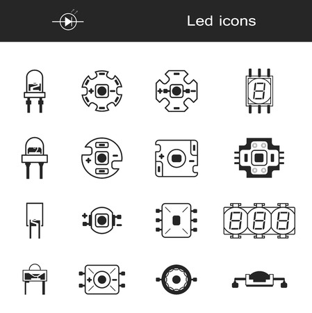Collection LED icons in flat forms. New leds device for bulbs. Digital element