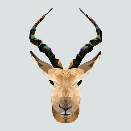 Geometric low poly antelope design. Creative horn antelope. Animal living in reserve.