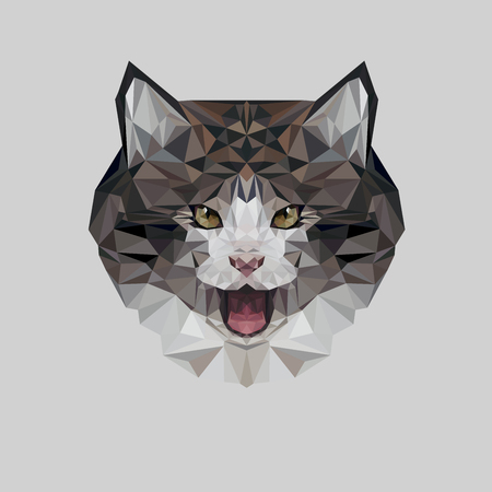 Geometric low poly kitty design. Cat day. Animal living in reserve or national park.