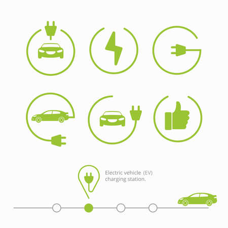 Iconos de la estación de carga de vehículos eléctricos. coche eléctrico aislado con el cable, dedo hacia arriba, iniciar la carga, lugar de alimentación. Coche eléctrico.