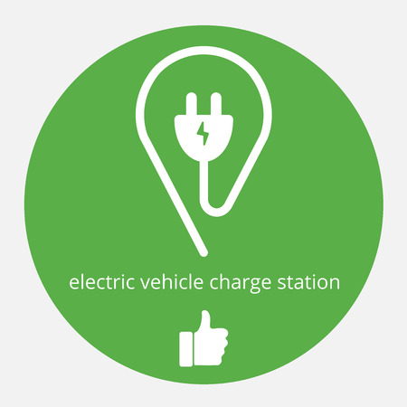 electric vehicle: Illustration of space electric charge. Isolated electric vehicle charge station. Electric supercharger icon with thumb up.