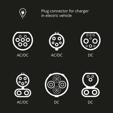 Plug connector for charging electric vehicle. Vector illustration charging cord. Icons connectors type AC and DC. Set charging cable for electric car. Charging station electrical power