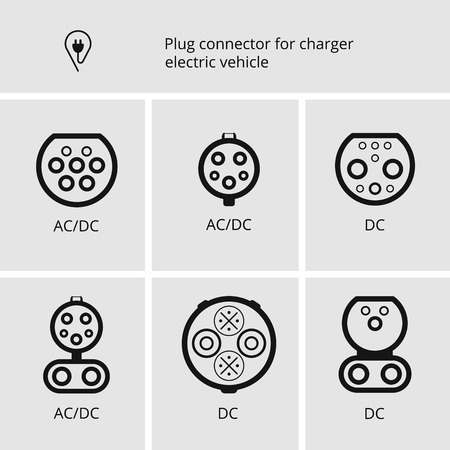 Vector icon sign, cable and plug for charging electric cars. Charge connectors.