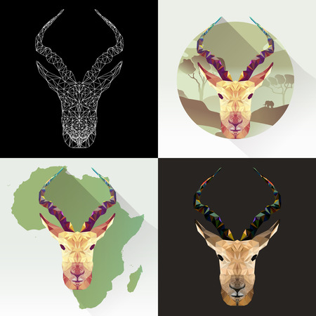 Vector set animal for tattoo, coloring, wallpaper, poster and printing on t-shirts. Antelope abstract image. Gazelle animal in polygon shape. Springbok mammal. Antelope low poly silhouette.