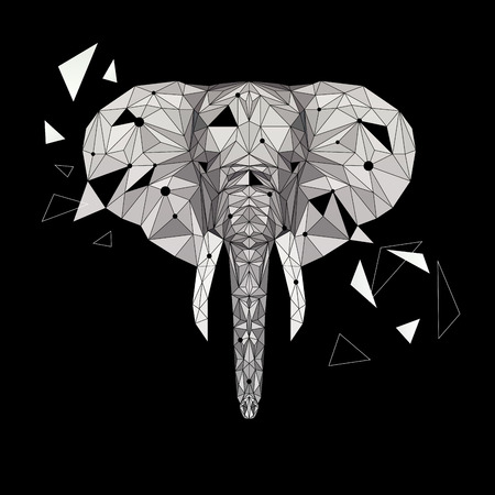 Vector elephant puzzle. Stylized elephant low poly design. Animal illustration for use as a print on t-shirt, tattoo and poster. Abstract mammal animal.