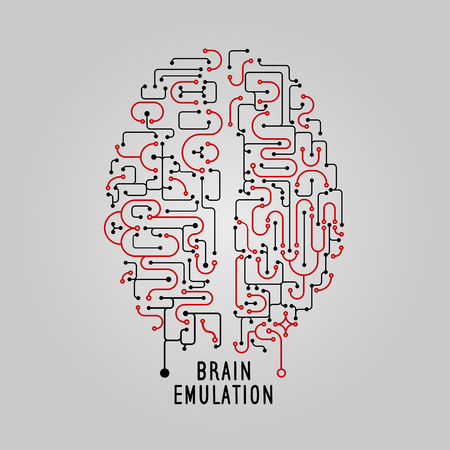 science education: Vector Illustration brain concept in line style, for technolog, creative design. Stylized brain. Electronic mind Artificial Intelligence. Brain emulation technology