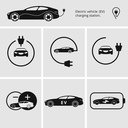 Vector illustration charging station for electric car. Icons pin point electric vehicle charging station. Isolated electric car. Symbols hybrid cars. Иллюстрация