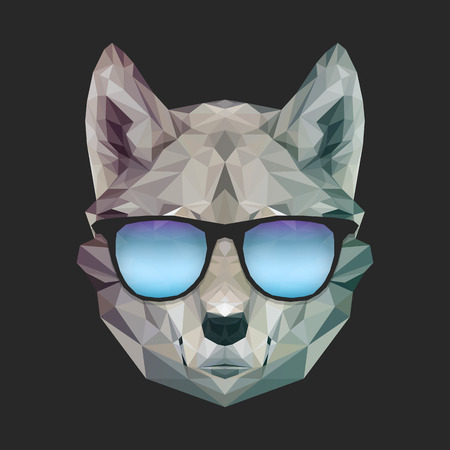 Cool print funny wolf in summer sunglasses. Vector dog illustration for t-shirts print. Hipster image. Geometric low poly design style