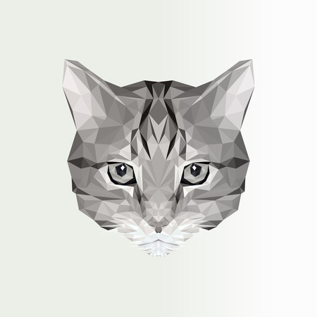 Vector illustration of low poly cat icon. Geometric polygonal cat silhouette. Animal illustration for tattoo, coloring, wallpaper, printing on t-shirts and graphic design logo, label, badge, emblem.