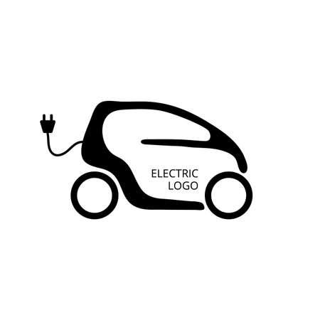 Kleines Elektroauto für einfaches Parken und Stadt fahren. Eco-Auto-Konzept-Symbol. Sparfahrzeug. Hybridtransportlogo