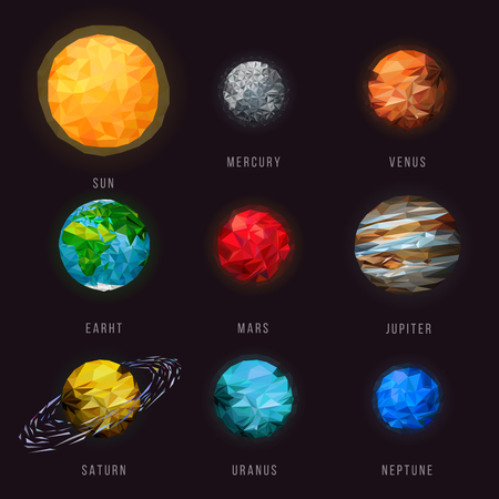 Vector planets of the solar system. Futuristic of polygonal planets illustration.