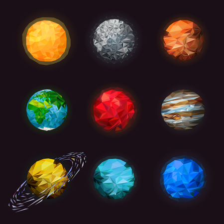Abstract low poly set of isolated planets. Fantasy polygonal planets set on space background. Science astronomy of the solar planetary. Mars, saturn with rings, earth, Sun