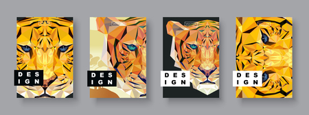 Tiger abstract covers set. Card tiger template. Future poster template. Polygonal halftone. Tiger silhouette illustration.