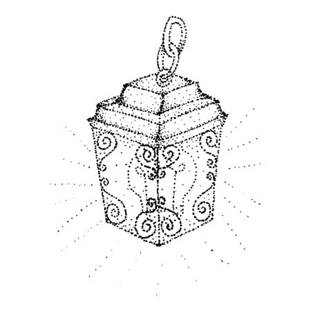 Hand drawn vintage lantern. Isolated vector art illustration. The sketch is drawn in black pen. Trace to the vector. Black-white design.
