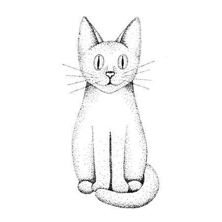 A cat drawn by hand with a black pen. Dots design. Black and white. Isolated on a white background. Trace in vector