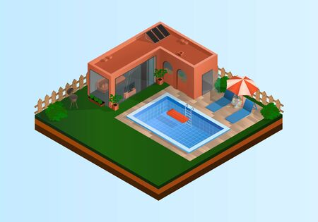 Isometric vector illustration with house, pool and grill area. It is summer time and the weather is nice. EPS-10 Ilustração