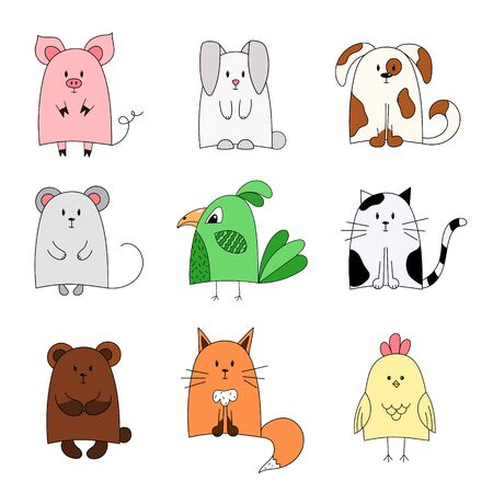 Cartoon cute animals for baby card and invitation. Vector illustration. set of hand-drawn animals isolated on white background