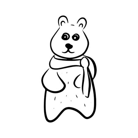 A simple hand-drawn bear stands and look forward. Vector black and white icon. For logo, print, design 向量圖像