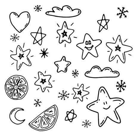 Set of several elements for decoration. 24 objects are drawn by hand, isolated on a white background. Black and white vector illustration. Image of clouds, hearts, shining stars, snowflakes, Crescent moon, orange slices. Cute design items Standard-Bild - 133455691