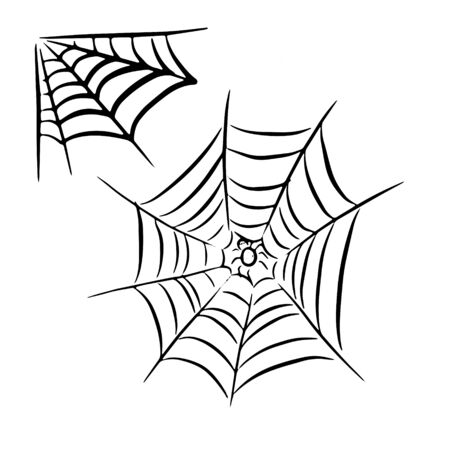 Sloppy drawn web with a spider in the center and a corner web. Hand-drawn. Black and white vector illustration. Ilustração