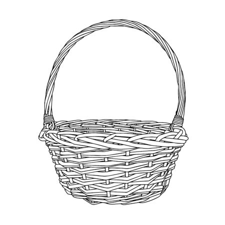 Hand-drawn empty wicker picnic basket. Black and white Basket with a handle made of twigs. The object is isolated on a white background. Ilustrace