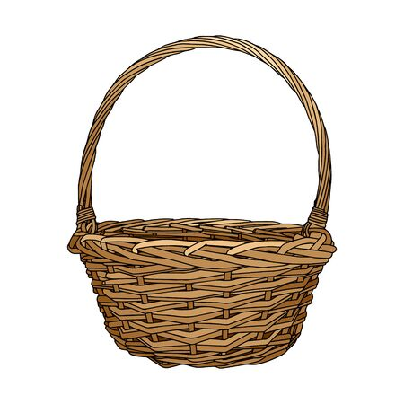 Hand-drawn empty wicker picnic basket. Colored Basket with a handle made of twigs. The object is isolated on a white background. Ilustrace