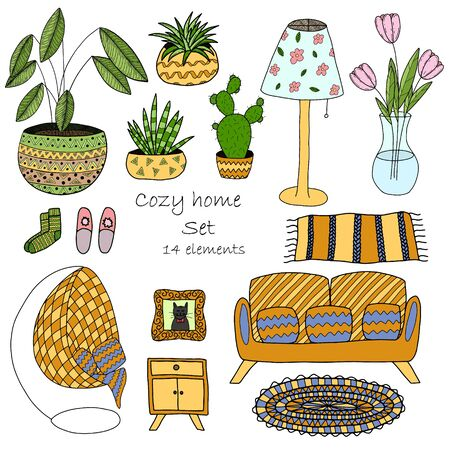 A set of elements on the theme of decor and comfort. Home furniture and indoor flowers. Hand-drawn color vector illustration. Objects are isolated on a white background. Stock Illustratie