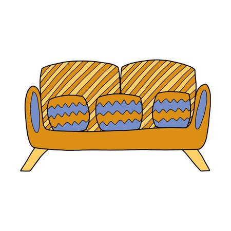 Doodle style sofa with pillows. Color vector illustration drawn by hand. The object is isolated on a white background. Design element on the theme of home furnishings and a cozy home Ilustrace