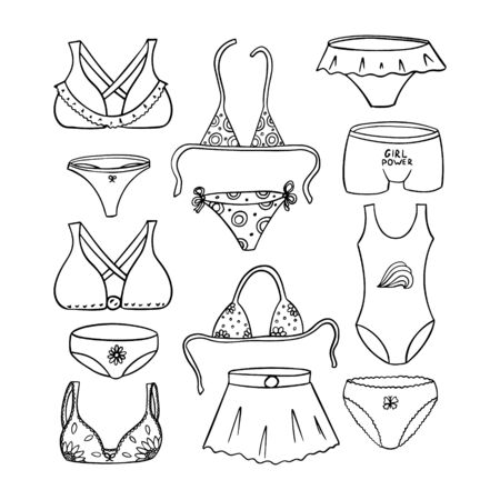 Set of elements of womens underwear, bras, panties and swimwear. Black and white vector illustration in Doodle style. The objects are hand drawn and isolated on a white background. Womens beachwear