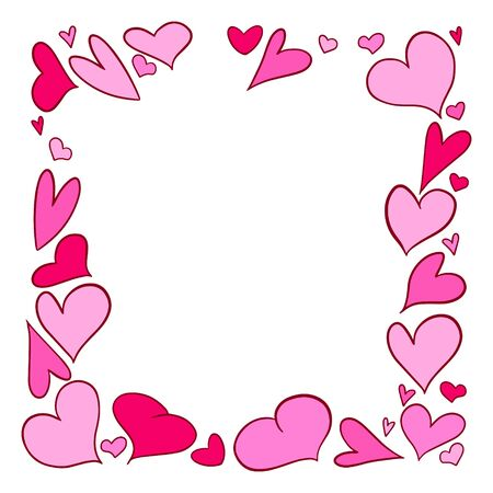 Vector illustration. Frame of hearts drawn by hand. Space for your text. Objects are not cropped, hidden under a mask. Isolated on white background. Easy to edit. Design element for Valentines day, b
