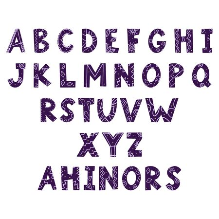Vector hand lettering. Hand drawn letters in doodle style and isolated on a white background. Alphabet for inscriptions on postcards, t-shirts. There are alternatives to some letters. Abc Illusztráció