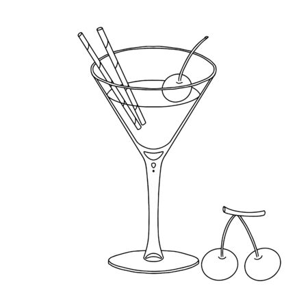 Black and white vector illustration. Cocktail in a glass on a thin leg with cherries. Alcoholic drink. Illustration for menu design. Object is hand-drawn and isolated on a white background.