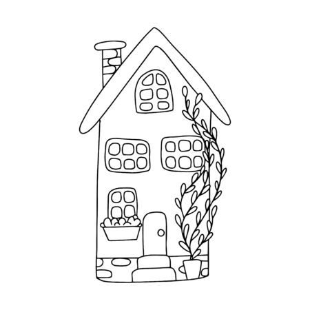 Vector illustration with cute little house in doodle style. One of a series of black and white contour houses. Drawn by hand. Illustration for children. Isolated on a white background.