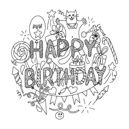 Black and white Vector illustration. Birthday card concept. Set of elements for holiday with the inscription Happy birthday in doodle style. Letters with abstract pattern.The objects isolated on white Çizim