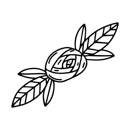 Vector illustration. Hand-drawn brooch or hair clip in the form of a rose with leaves. Black and white contour design element for Valentine's Day. The object is isolated on a white background. Çizim